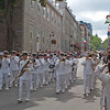 Naden Band marching through streets of Quebec City