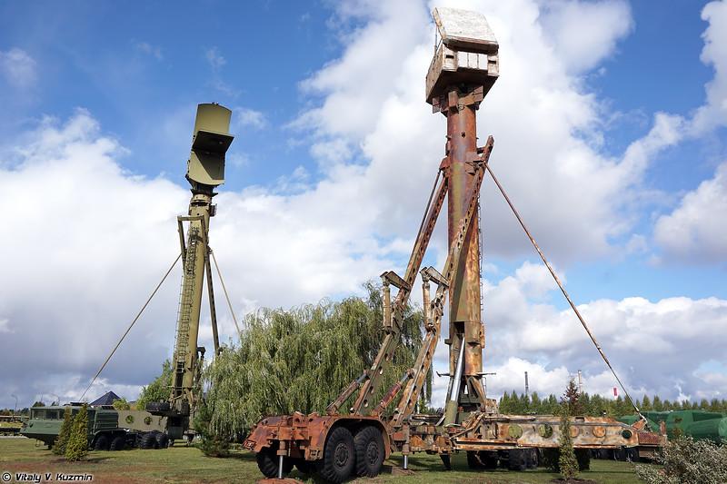 Кабина Ф1 радиолокатора подсвета и наведения 5Н63 и низковысотный обнаружитель 5Н66М на вышках 40В6М (5N63 and 5N66M radars on 40V6M masts)