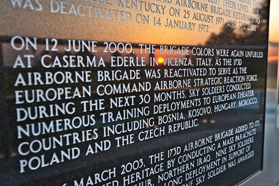 25 MAY 2011 (FORT BENNING, GA) The sun sets on the 173rd Airborne Brigade Combat Team Memorial nearly a year after its dedication at the Walk of Honor at the National Infantry Museum. This memorial was the first to be dedicated.  Photo by Susanna Avery-Lynch - susanna.lynch@us.army.mil
