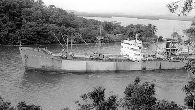 Clearton leaves Mourilyan Harbour with about 7,000 tons of sugar. Cannot load the 15,000 it carries as ship is drawing 22 feet. Harbour entrance at hight tide (now) is only 28 feet. Being blasted to deepen.