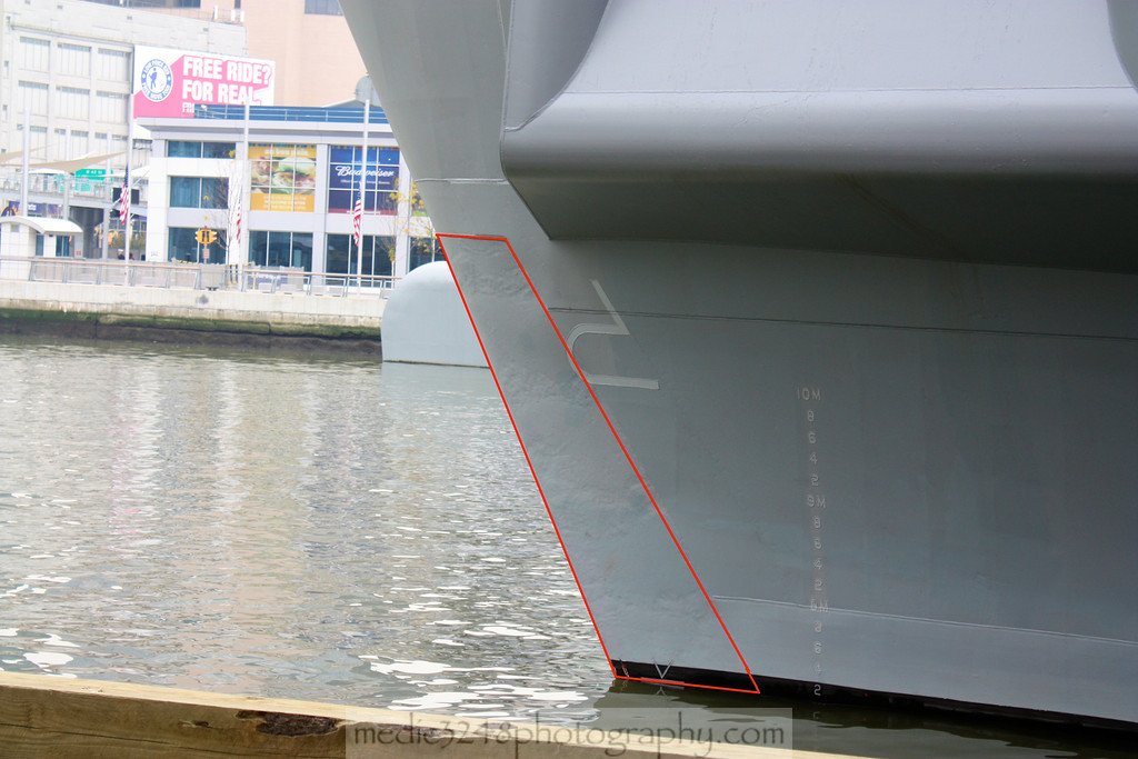 Outlined in red is the section of the bow built with steel from the World Trade Center.