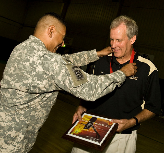 West Point Head Coach, Jim Crews. USO Operation Hardwood VI Tour to Iraq August, 2009