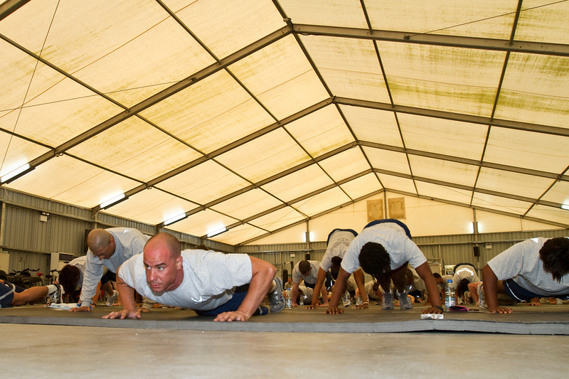 June 8, 2011. At an undisclosed military base in the Middle East. Health and Wellness expert Jillian Michaels and Fitness Guru Marco Borges lead boot camp style work out sessions while actress/media personality Celines Toribio adds excitement.