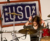 David Cook, 2008 American Idol winner and his band perform at Camp Virginia, Kuwait. Kyle Peek. Drummer.