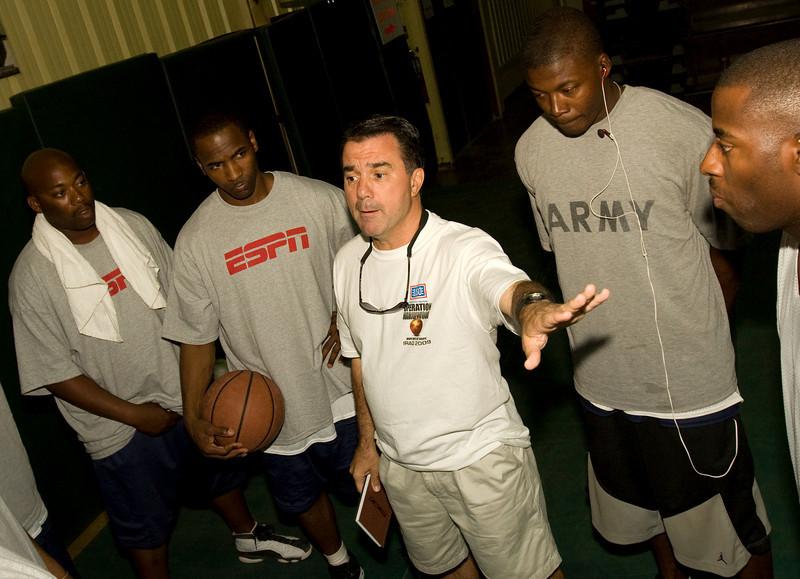 ESPN Analyst and Former St. John's University Head Coach, Fran Fraschilla at Camp Speicher, Iraq . USO Operation Hardwood VI Tour to Iraq August, 2009.