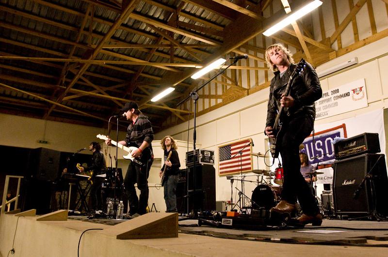 David Cook, 2008 American Idol winner and his band. Camp Taji, Iraq, January 22, 2009.
