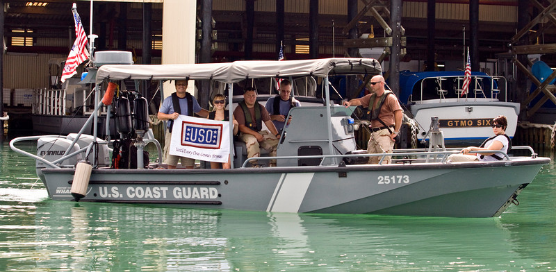 """Actors Terry Serpico, Sally Pressman andBrian McNamara of Lifetime's top-rated drama """"Army Wives"""" ride with Port Security Unit 305, U. S. Coast Guard of Fort Eustis, Virginia in Guantanamo Bay, Cuba as part of USO/Armed Forces Entertainment tour December 12-16."""