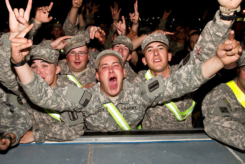 November 26, 2010. Camp Buering, Kuwait. Hundreds of Soldiers, Sailors, Marines and Airmen came and enjoyed the show.