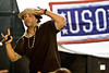 "Hip-Hop artist Ronald ""Baby Bash"" Bryant entertains hundreds of Soldiers, Sailors, Marines and Airmen at Camp Camp Bucca, Iraq Sept. 6, 2008."
