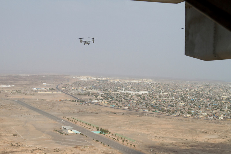 NFL Tour with Drew Brees, Billy Miller and Donnie Edwards. U. S. Marine Corps V-22 Osprey as seen from the Osprey I was riding on, landing at Camp Lemonoire, Djibouti.