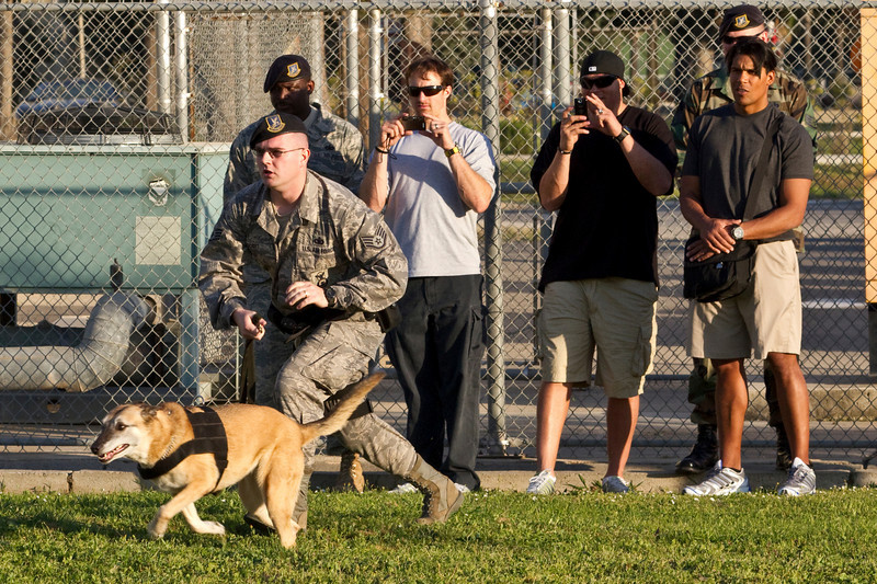 NFL Tour with Drew Brees, Billy Miller and Donnie Edwards. Incirlik Air Base Turkey. Dog handler demo.