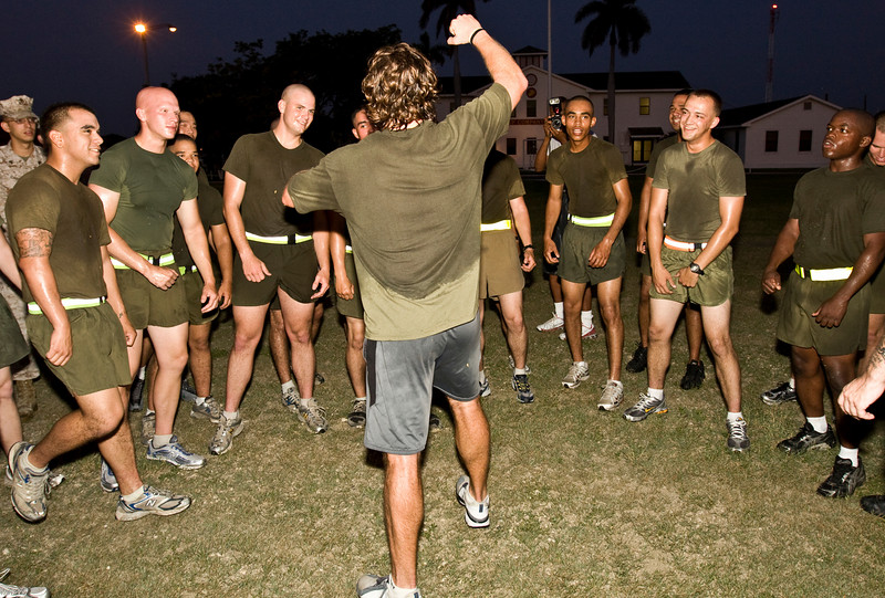 USO NFL Tour To Guantanamo Bay, Cuba June 26-29, 2009. USO NFL Tour To Guantanamo Bay, Cuba June 26-29, 2009. Drew Brees participates in PT (Physical Training) with the U. S. Marines of Marine Corps Security Force, Guantanamo Bay, Cuba.