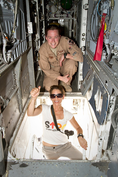 June 9, 2011. At an undisclosed military base in the Middle East. Health and Wellness expert Jillian Michaels and Fitness Guru Marco Borges lead boot camp style work out sessions while actress/media personality Celines Toribio adds excitement. Michaels poses with U. S. Air Force Captain Tara Hart of Breckenridge, CO.  on board a U. S. Air Force B-1 bomber. USO photo by Mike Clifton.