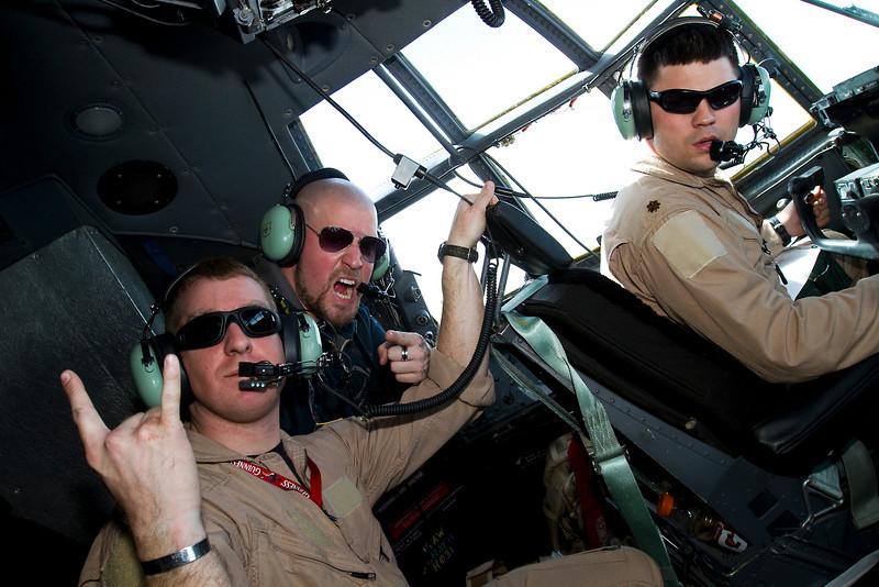 Saving Abel-Scott Bartlett in the cockpit of a U. S. Air Force C-130 aircraft over Iraq.