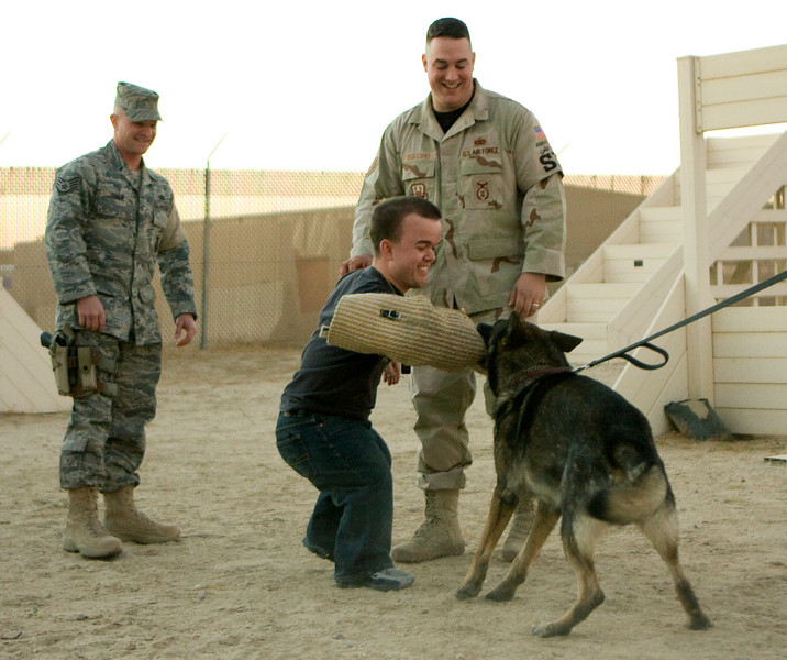 Brad Williams participating in a Military Working Dog exercise in Kuwait. 11/28/07.