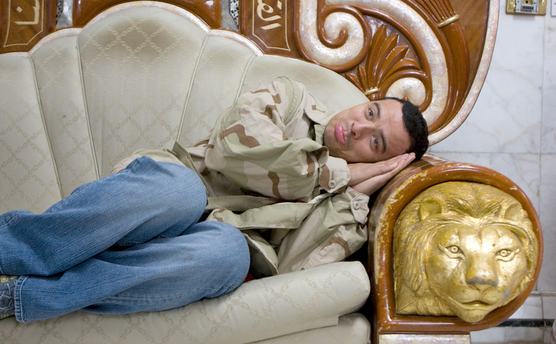 Carlos Mencia on one of Sadam's thrones. This one was reportedly given to him by Yasir Arafat. 11/30/07.