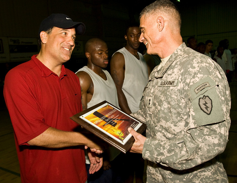 ESPN Analyst and former Head Coach at UCLA, Steve Lavin. USO Operation Hardwood VI Tour to Iraq August, 2009.