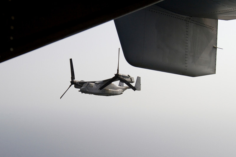 NFL Tour with Drew Brees, Billy Miller and Donnie Edwards. U. S. Marine Corps V-22 Osprey as seen from the Osprey I was riding on, shortly after taking off from the USS Nassau in the Gulf of Aden.