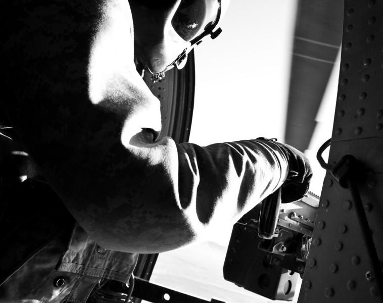 Army Blackhawk door gunner. Southern Afghanistan. 11-10-2010.