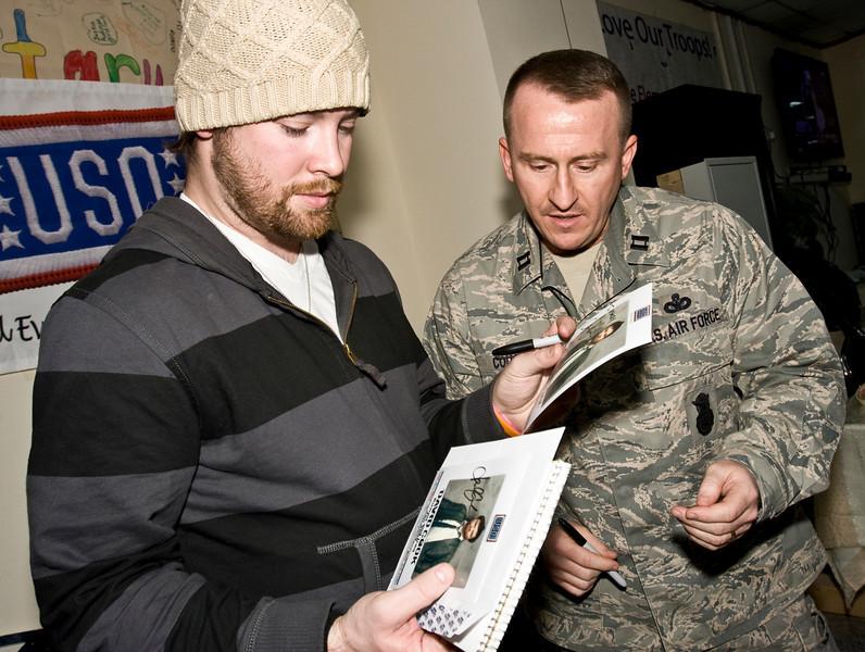 David Cook, 2008 American Idol winner and his band. Camp Phoenix, Baghdad, Iraq, 23 January, 2009.