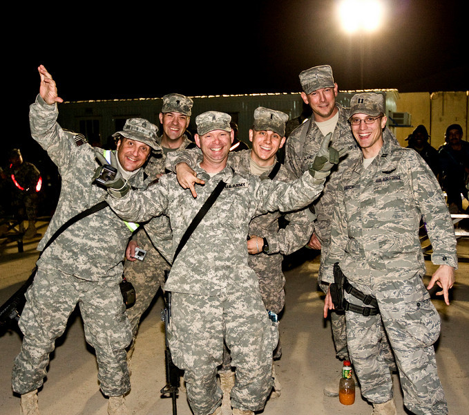 David Cook, 2008 American Idol winner and his band. Forward Operating Base War Horse, Iraq. January 21, 2009. U. S. Army Staff Sgt. Greg Moon, far left, of Fayetteville, GA.