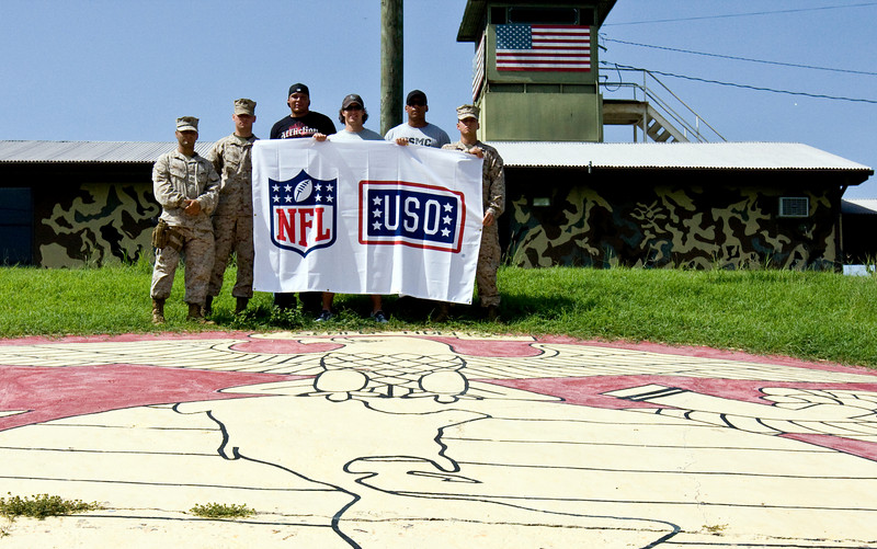 USO NFL Tour To Guantanamo Bay, Cuba June 26-29, 2009. USO NFL Tour To Guantanamo Bay, Cuba June 26-29, 2009. L-R Billy Miller, Drew Brees and Donnie Edwards pose at the North East Gate of the Guantanamo Bay Naval Station with U. S. Marines Private First Class John Allenmand, Lance Corporal Mario Castro and Lance Corporal Andrew Martinez. Allenmand, Castro and Martinez are members of Marine Corps Security Force Guantanamo Bay, Cuba.