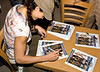 American Gladiator, Jet, Monica Carlson, signs autographs at Camp Lemonier, Djibouti, November 10 2008 as part of the USO American Gladiators Tour To Bahrain and Dijbouti.