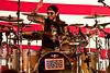 November 29, 2010. Balad Air Base, Iraq. Hundreds of U. S. Military personnel showed up for the show. Drummer Mike Portnoy performs.