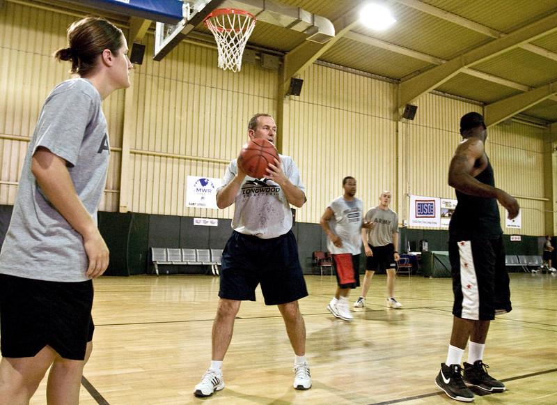 Mike Gillian, Head Coach, Longwood University (C) at Camp Speicher, Iraq.