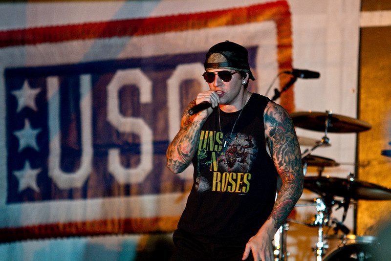 November 30, 2010. Camp Adder, Talil, Iraq. Hundreds of U. S. Military personnel showed up for the final show. Mathew Sanders (M. Shadows).