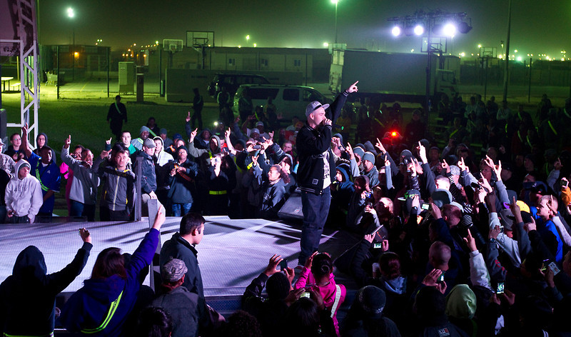 January 22. 2012. Grammy-nominated rapper, Paul Wall visits U. S. troops at Camp Arifjan, Kuwait on his fifth USO Tour.