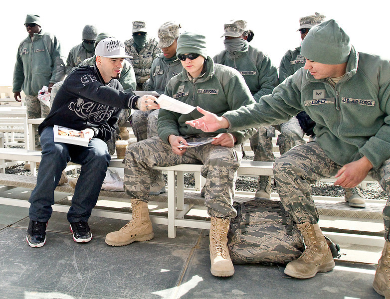 January 21. 2012. Grammy-nominated rapper, Paul Wall visits U. S. troops at Camp Virginia, Kuwait on his fifth USO Tour. Wall meets with servicemembers before his perfomance at Camp Virginia, Kuwait.