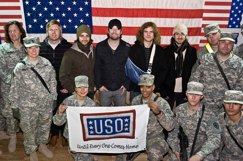 David Cook, 2008 American Idol winner and his band. Forward Operating Base War Horse, Iraq. January 21, 2009.