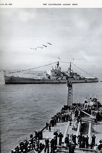 The Queen's Mightiest Warship: H.M.S. VANGUARD, see from the U.S. Cruiser BALTIMORE, during the fly-past. June 20, 1953