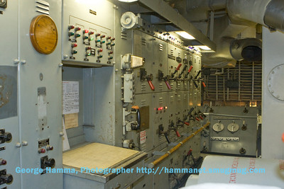 The control room for each pair of steam-turbines includes electrical generation and distribution.
