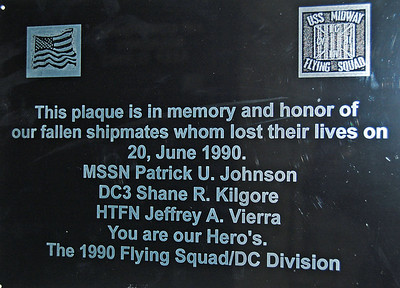 Plaque Honoring 3 Sailors Killed in Fire 1990