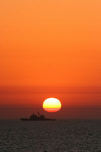 The USS Lake Champlain patrols the Persian Gulf in the early morning hours.