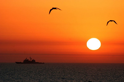 Dramatic sunrise in the Persian Gulf.