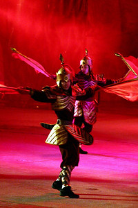 Traditional dancers at a show in Shenzhen, China
