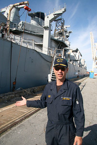 WELCOME ABOARD - Robert Kent, President of the non-profit Pacific Battleship Center which was awarded battleship IOWA, proudly begins a tour of the ship. IOWA's aft starboard accommodation ladder and superstructure are in the background.