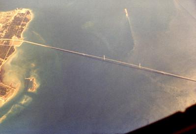 Tanker flight from K. I. Sawyer AFB over the Mackinaw Bridge.