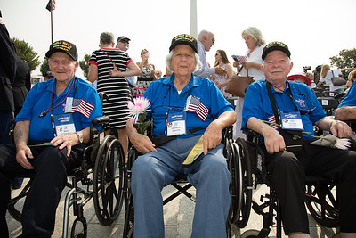 World War II veterans from Honor Flight Houston: Roy Rodgers (Navy Seaman), Charlie Svrcek (Navy Engineman), Frank Hicks (Navy Seaman)
