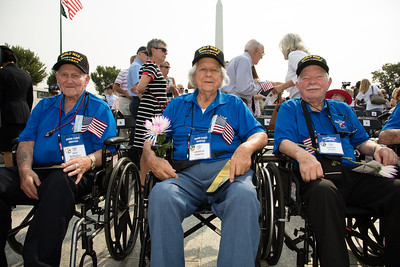World War II veterans from Honor Flight Houston: Roy Rodgers (Navy Seaman), Charlie Svrcek (Navy Engineman), Frank Hicks (Navy Seaman)