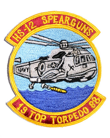 VFW Post 3873 - Panel 01 - Patch 17 - HS-12 Commander ASW Wing Pacific Top Torpedo Award 1988