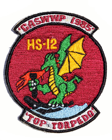 VFW Post 3873 - Panel 01 - Patch 16 - HS-12 Commander ASW Wing Pacific Top Torpedo Award 1985