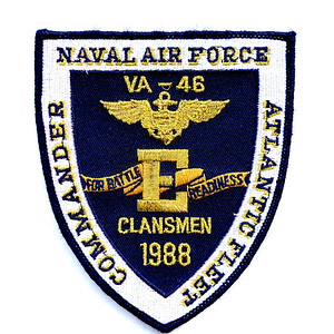 "VFW Post 3873 - Panel 10 - Patch 12 - US Navy 1988 Battle E Award (Battle Efficiency) Attack Squadron 46 (VA-46), ""The Clansmen"""