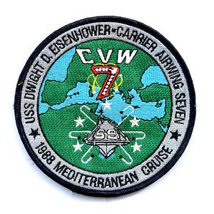 """VFW Post 3873 - Panel 10 - Patch 03 - USS DWIGHT D. EISENHOWER (CVN-69), 1988 """"Med"""" Cruise"""