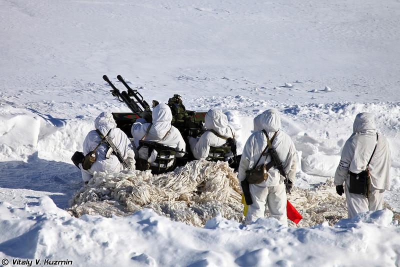 Действия батальонной тактической группы поддерживает расчет ЗУ-23 (ZU-23)