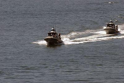 Two US Navy Coastal Warfare boats