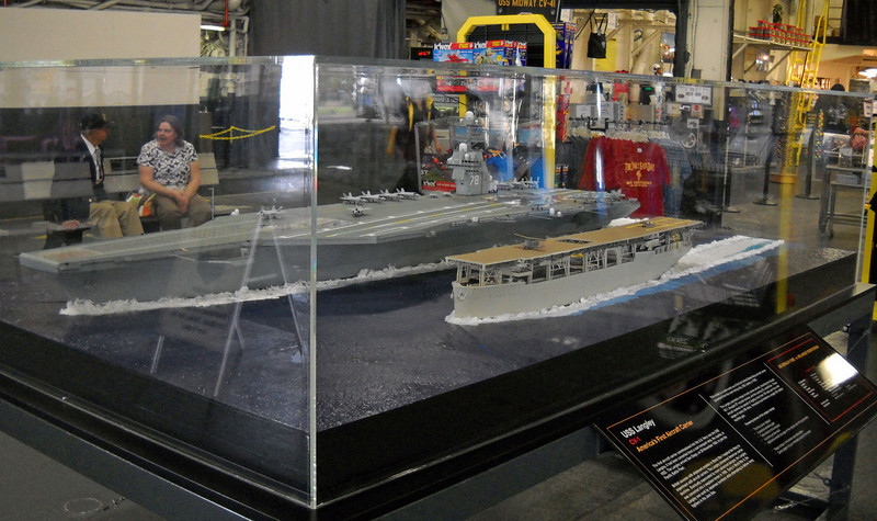 Model of USS Gerald Ford CV-78 compared to the CV- 1 USS Langley